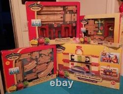 4 sets Chuggington Trains Wooden Railway Double-Decker Roundhouse & Track Packs