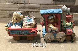 Cherished Teddies SANTA EXPRESS TRAIN SET COMPLETE, PLUS TRACKS & LIGHTS