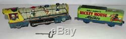 DISNEY1950'sMICKEY MOUSE METEOR TRAIN SET+BELL RING+SPARKING ACTION+TRACK+EX