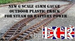 G SCALE RAILWAY RAIL 45mm GAUGE PLASTIC TRACK, BATTERY & STEAM POWER TRAIN SET
