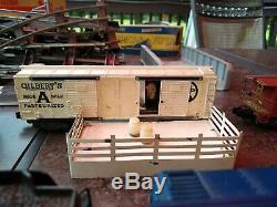 GILBERT AMERICAN FLYER STEAM LOCOMOTIVE TRAIN SET-Boxcars Caboose Tracks + More