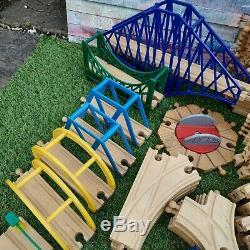 HUGE Wooden Train Track Set Bundle Inc Brio, Trains, People, Bridges 178 PIECES