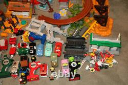 Huge Lot Fisher Price Geo Trax Train Track Set Disney Cars, Buildings, Trains ++