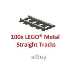 LEGO 9V TRAIN 100x 4515 / 2865 Pieces Straight Metal Tracks Rails TOP PRICE
