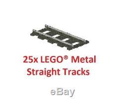 LEGO 9V TRAIN 25x 4515 / 2865 Pieces Straight Metal Tracks Rails TOP PRICE
