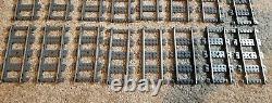 LEGO 9V TRAIN Lot of 24x 4515 / 2865 Pieces Straight Metal Tracks Rails