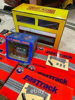 LIONEL O Scale Fastrack Train collection. 2 beautiful engines, cars, buidings, etc