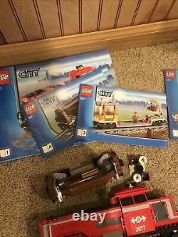 Lego City 3677 Red Cargo Train Complete Motor Controller No Box Extra Track