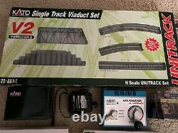 Lot of N Scale train Kato tracks unitrack V2+ power pack + rolling stock + more