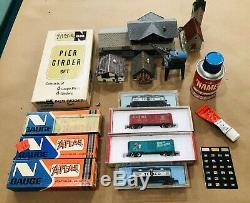 N Scale, AURORA Postage Stamp Train Set, Vintage + Extra Track, Cars, + More