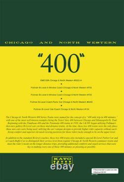 N Scale Kato 106-104 C&NW Chicago & North Western E8A & Pullman 400 Train Set