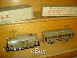 Prewar LIONEL #337, 4-pc standard gauge PASSENGER train set boxes & orig. Track