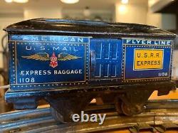 Radio Flyer pre war train set locomotive 1270 0 gauge track, RUNS! RARE