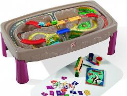 Step2 Deluxe Canyon Road Train & Track Table with Train Set Play Toddlers New