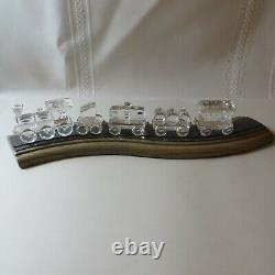 Swarovski Silver Crystal Train 7471 Large Set of Five Retired withBoxes/Track