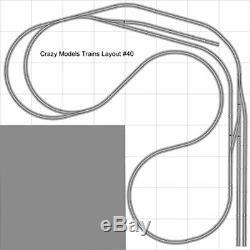 Train Layout #040 Bachmann HO EZ Track Nickel Silver 8' X 8' L Train Set
