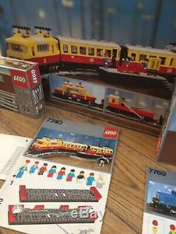 Vintage 1980 Lego train set 7740 and shunter 7860 with extra track with boxes