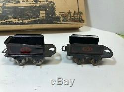 Vintage Dorfan Train Set, 5 cars, windup engine needs repair, track, box, no key
