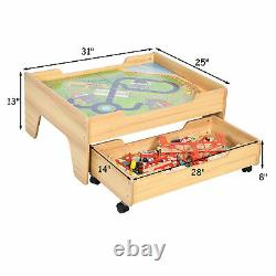 Wooden Kids Train Track Railway Set Table with100 Pieces Storage Drawer