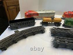 1950 Vintage Marx Santa Fe Diesel Locomotive O-gauge Ensemble De Train Avec Track Nice