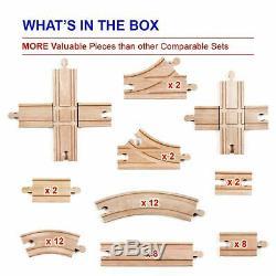 52 Pièces En Bois Lot Train Piste Builders Set Accessoires Compatible Thomas Brio