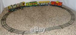 Disney1950'smickey Souris Meteor Train Set + + Bell Ring Étincelle Action + Rail + Ex