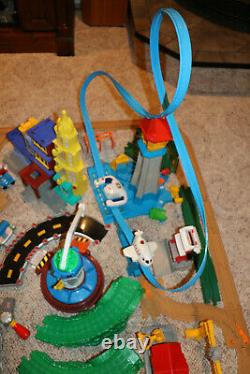 Huge Lot Fisher Price Geo Trax Train Set Trains Track Buildings Airport Plane