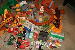 Huge Lot Fisher Price Geo Trax Train Track Set Disney Cars, Buildings, Trains ++
