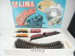 Lima O Gauge Giant Train Set Batterie Actionnée Maroon 4f + 3 Wagons & Piste