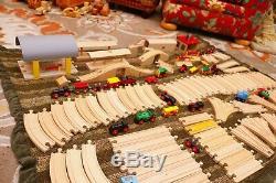 Lot 18 Lbs Énorme 300+ Pc Brio Railway Train Bois & Track Set