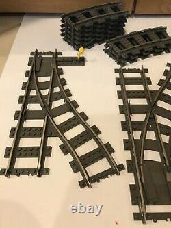 Lot De 43 Lego 9v 2865 2867 2861 4519 Voies Ferrées Switch 21 Courbe 19 Droite