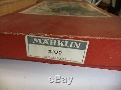Marklin Ho 3100 Train Électrique, Fabriqué En Allemagne, 0-6-0 Loco, 3 Entraîneurs, Piste, En Boîte