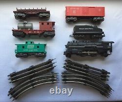 Marx Big Rail Work Train Ensemble Avec Unique Nyc Track Cleaning Car Original Box 51350