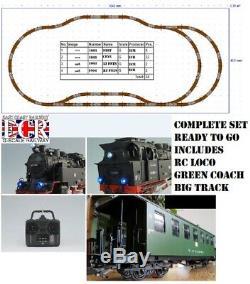 Nouveau G Scale Rc Loco, Coach & Track, Starter Set 45mm Calibre Jardin De Chemin De Fer Train