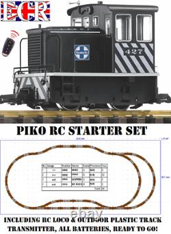 Piko G Scale 45mm Gauge Rc 2.4ghz Loco & Track Set Radio Remote Contrôle Train