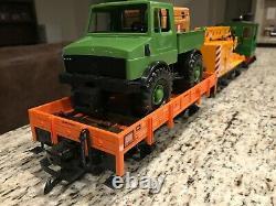 Preowned-lgb # 73401 Ensemble De Trains De Travail Avec Rail Circulaire, Bloc D'alimentation Et Fils Terminaux