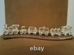 Swarovski Crystal Complete Train Set With Wooden Track 7 Pièces