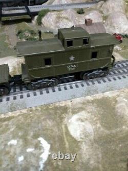 Train Marx 400 Militaire Vintage Réglé Avec Transformateur Et Voie. Fonctionne Très Bien