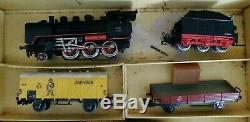 Vinatge Marklin Ho 3203 Train Allemagne De L'ouest Utilisé Avec Box & Track 7 Cars