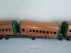 Vintage Antique 1930s Hafner 7 Voiture Wind-up Copper Train Set Avec Piste Pré-guerre