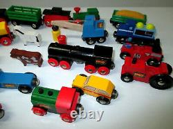 Vintage Brio Train Set 150+ Pc Lot Jouet Moteurs De Piste En Bois Suède 20+ Lbs Mint