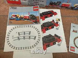 Vintage Lego 7722 Train De Fret Vapeur Avec Boîte À Chenilles + Instructions Près De Complet